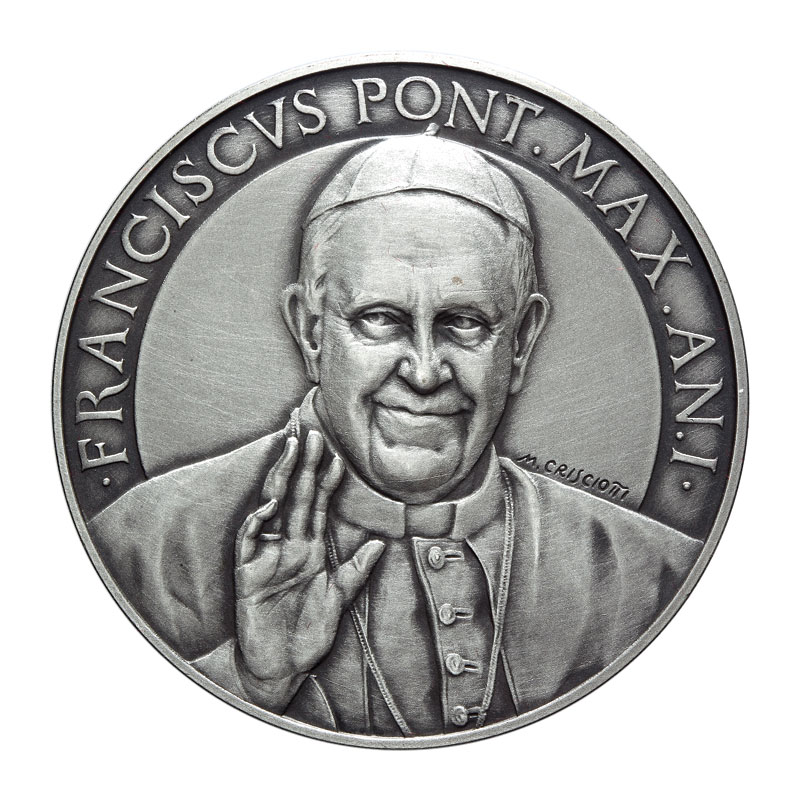 VATICAN 2013 POPE FRANCIS MEDAL YEAR I SILVER ERROR