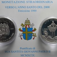 VATICANO 1999 DIPTYCH LIRE 10000 SILVER COMMEMORATIVE PROOF