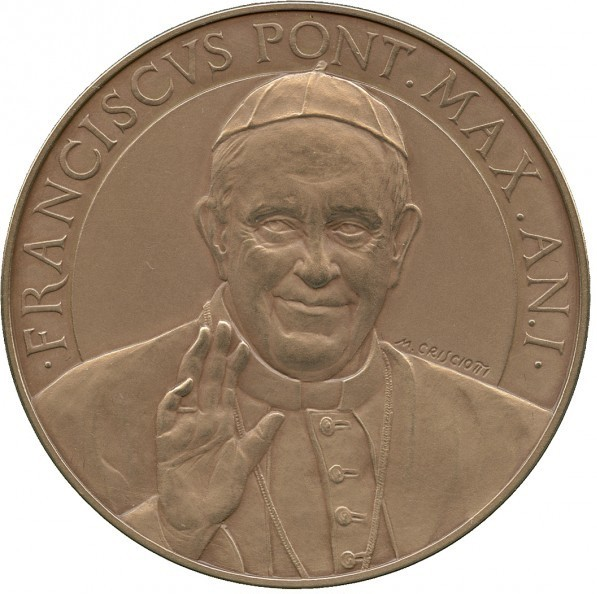 VATICAN 2013 POPE FRANCIS MEDAL YEAR I BRONZE