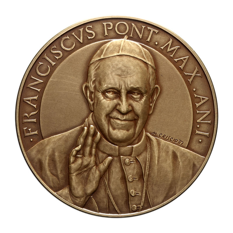 VATICAN 2013 POPE FRANCIS MEDAL YEAR I BRONZE MISTAKE